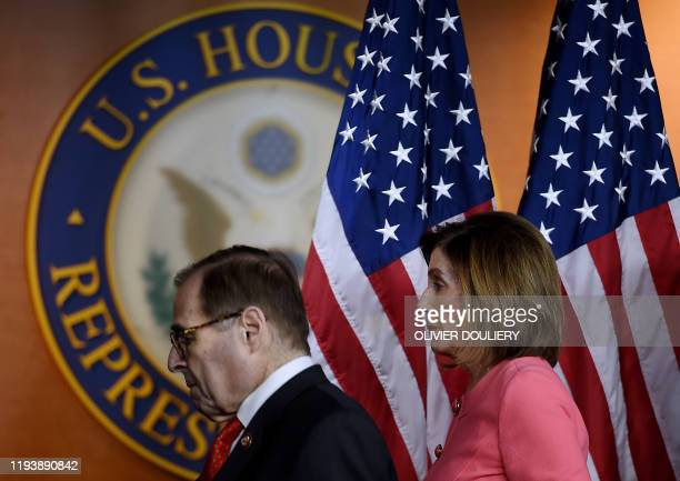 Speaker of the House Nancy Pelosi and Impeachment Manager Rep. Jerry Nadler , leave after speaking at a press conference to announce the impeachment...