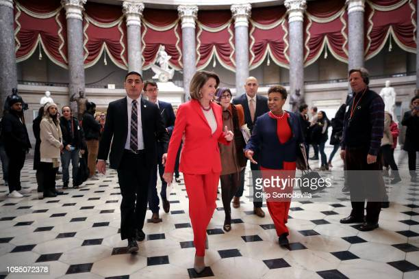 Speaker of the House Nancy Pelosi and Rep Barbara Lee head for the floor of the House of Representatives at the US Capitol January 16 2019 in...