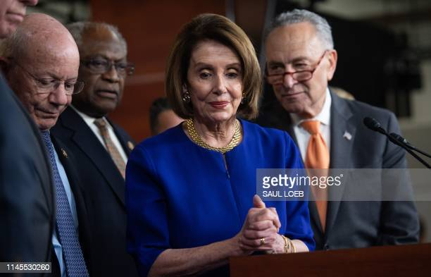 US Speaker of the House Nancy Pelosi and Senate Democratic Leader Chuck Schumer hold a press conference on Capitol Hill in Washington DC May 22...