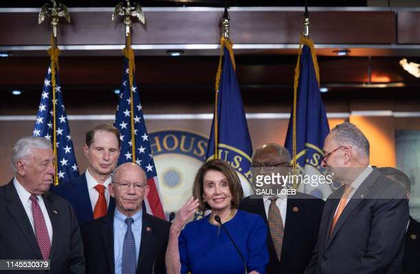 US Speaker of the House Nancy Pelosi and Senate Democratic Leader Chuck Schumer hold a press conference with fellow Democrats on Capitol Hill in...