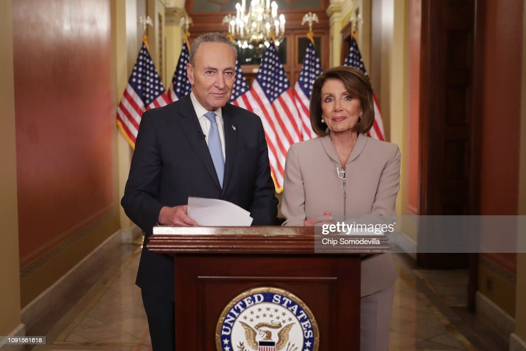Democratic Leadership House Speaker Nancy Pelosi And Sen. Chuck Schumer Issue Response To President's Border Security Address : News Photo