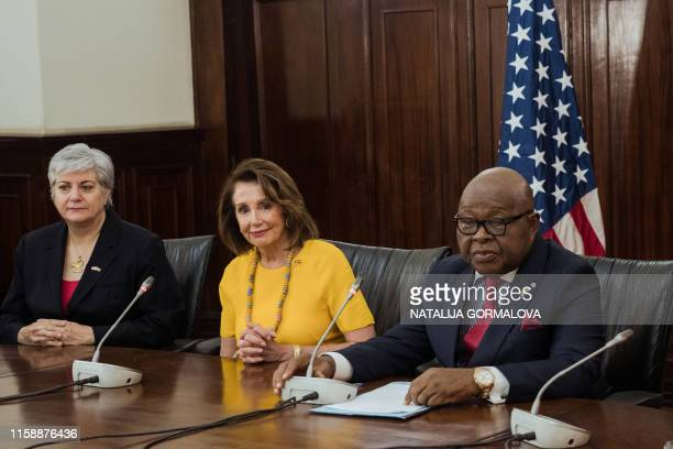 US Speaker of the House Nancy Pelosi and Speaker of Ghana's Parliament Mike Aaron Oquaye attend a meeting at Ghana's Parliament in Accra on July 31...