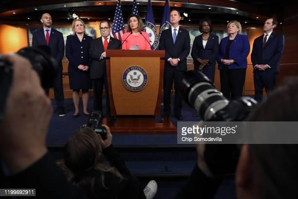 S Speaker of the House Nancy Pelosi announces that Rep Hakeem Jeffries Rep Sylvia Garcia Rep Jerrold Nadler Rep Adam Schiff Rep Val Demings Rep Zoe...