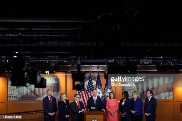 Speaker of the House Nancy Pelosi announces that Rep. Hakeem Jeffries , Rep. Sylvia Garcia , Rep. Jerrold Nadler , Rep. Adam Schiff , Rep. Val...