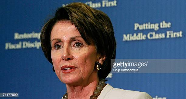 Speaker of the House Nancy Pelosi answers questions during a news conference after the Congress passed a budget at the US Capitol May 17 2007 in...