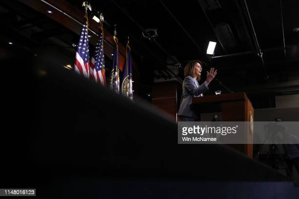 S Speaker of the House Nancy Pelosi answers questions during a press conference at the US Capitol on May 09 2019 in Washington DC During the press...