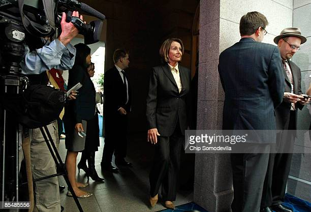 Speaker of the House Nancy Pelosi arrives at a news event to talk about tax legislation sparked by bonuses paid to employees of the American...