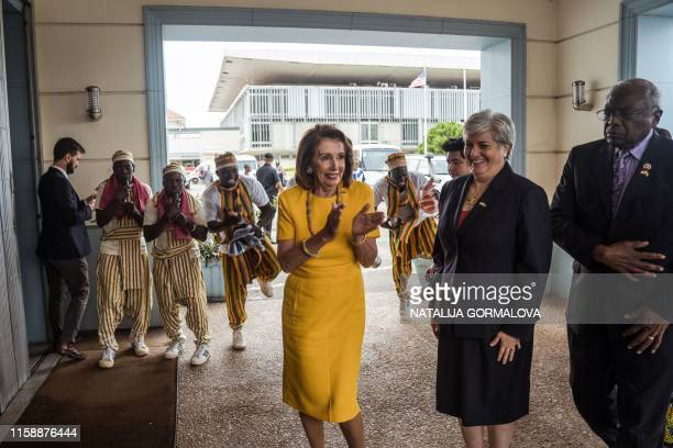 US Speaker of the House Nancy Pelosi arrives at the Ghana's Parliament in Accra on July 31 2019 during a threeday visit to the country to mark the...