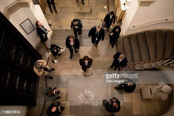 Speaker of the House Nancy Pelosi arrives at the US Capitol and walks to her office on December 18 2019 in Washington DC Later today the US House of...