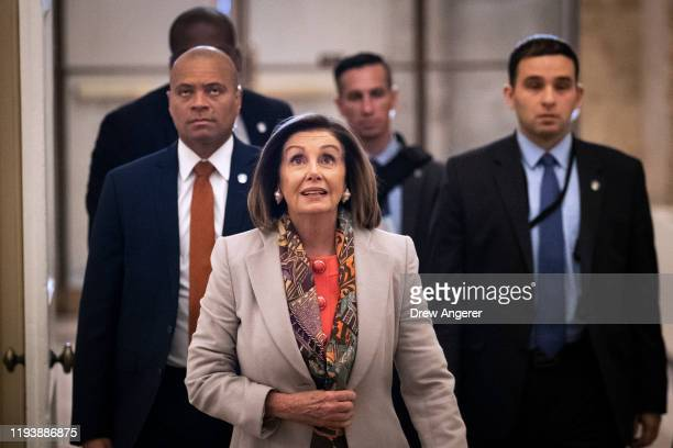Speaker of the House Nancy Pelosi arrives at the US Capitol on January 15 2020 in Washington DC The House is expected to formally transmit the...