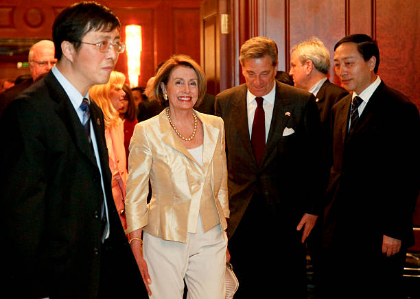 Speaker of the House Nancy Pelosi arrives for a meeting with Liu Yungeng, chairman of Shanghai's Municipal People's Congress on May 24, 2009 in...