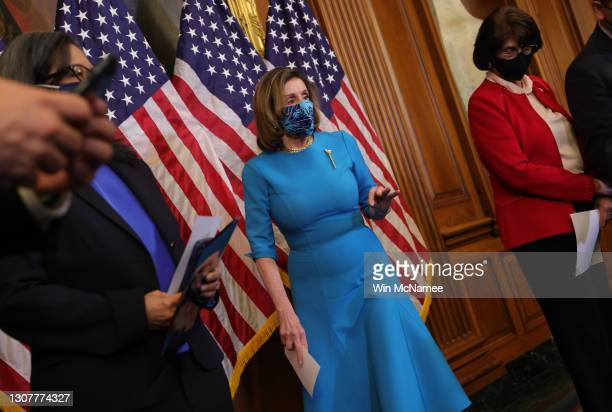 Speaker of the House Nancy Pelosi arrives for a press conference on immigration at the U.S. Capitol March 18, 2021 in Washington, DC. Pelosi was...