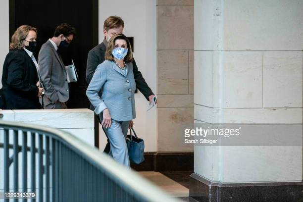 Speaker of the House Nancy Pelosi arrives to a news conference at the US Capitol on October 29 2020 in Washington DC Speaker Pelosi spoke about the...