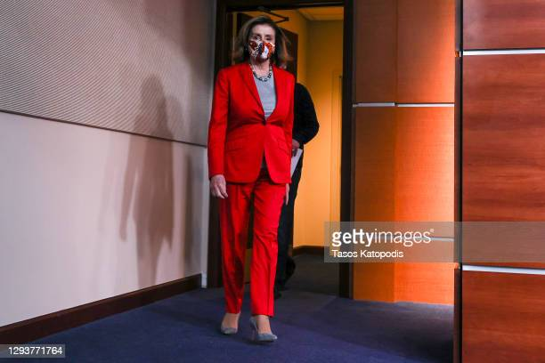Speaker of the House Nancy Pelosi arrives to speak at her weekly news conference on Capitol Hill on December 30, 2020 in Washington, DC. Speaker...