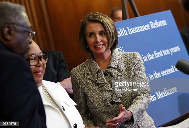 S Speaker of the House Nancy Pelosi attends an event highlighting health care reform at the US Capitol March 18 2010 in Washington DC As US President...