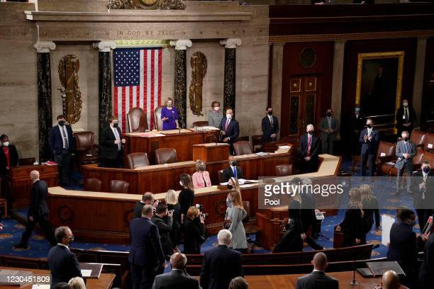 Speaker of the House Nancy Pelosi center, speaks during a joint session of Congress to count the Electoral College votes of the 2020 presidential...