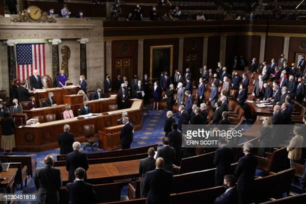 Speaker of the House Nancy Pelosi, D-CA, and Vice President Mike Pence officiate at the Electoral College vote certification for President-elect Joe...