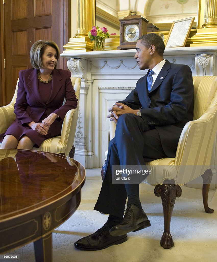 Speaker of the House Nancy Pelosi, D-Calif., and President-elect Barack Obama meet in Speaker Pelosi's office in the U.S. Capitol on Monday, Jan. 5, 2009.