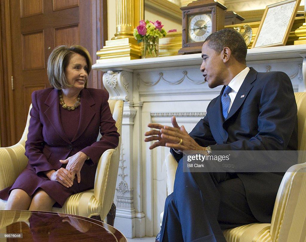 Speaker of the House Nancy Pelosi, D-Calif., and President-elect Barack Obama meet in Speaker Pelosi's office in the U.S. Capitol on Monday, Jan. 5, 2009.