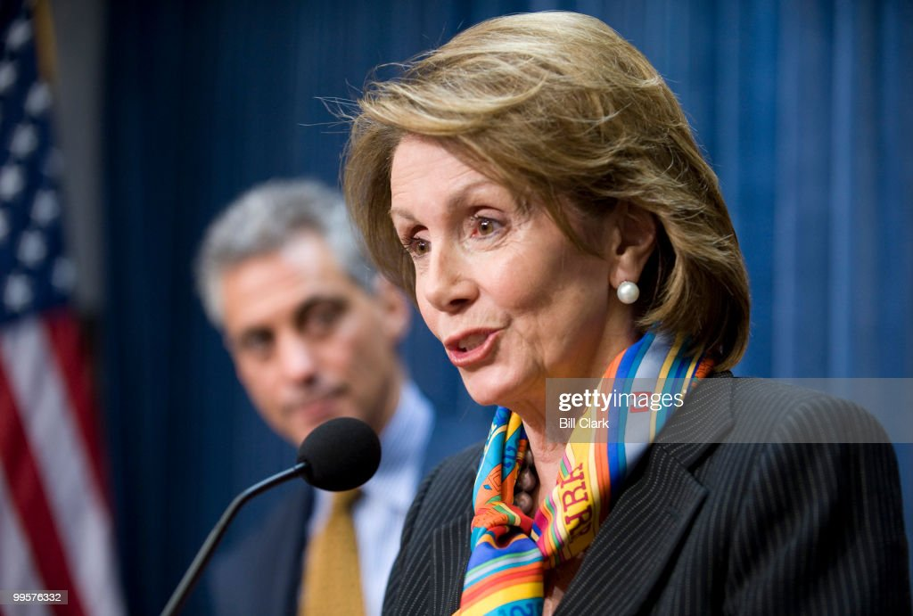 Speaker of the House Nancy Pelosi, D-Calif., and Rep. Rahm Emanuel, D-Ill., hold a news conference in the House Radio/TV Gallery studio following the House Democratic Caucus meeting on Wednesday, April 9, 2008. Speaker Pelosi announced she will seek to stop the clock on the Colombia trade deal.