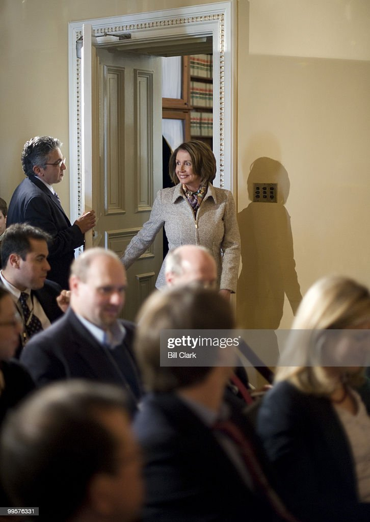 Speaker of the House Nancy Pelosi, D-Calif., arrives for her news conference on Monday, Feb. 23, 2009, to discuss her recent Congressional trip to Italy and Afghanistan