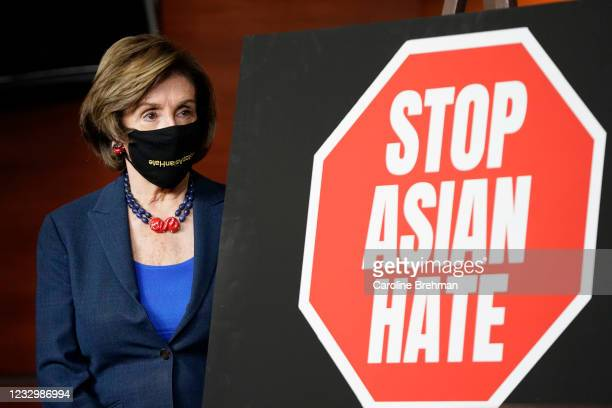 May 18: Speaker of the House Nancy Pelosi, D-Calif., attends a news conference on the COVID-19 Hate Crimes Act in Washington on Tuesday, May 18, 2021.