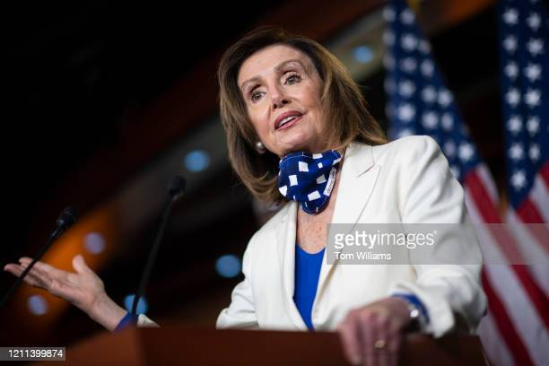 Speaker of the House Nancy Pelosi DCalif conducts a news conference in the Capitol Visitor Center where she addressed COVID19 relief funding and...