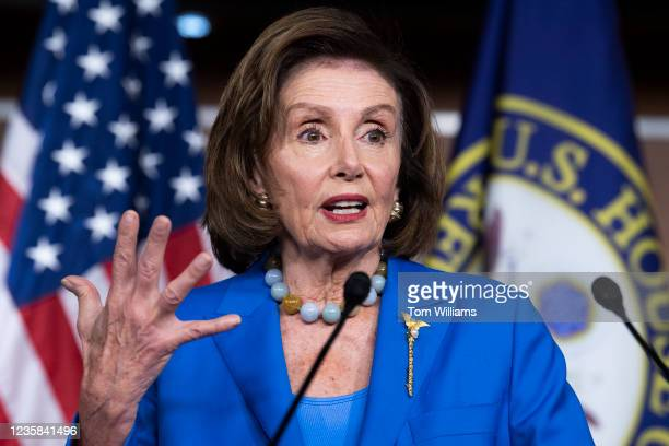 Speaker of the House Nancy Pelosi, D-Calif., conducts her weekly news conference in the Capitol Visitor Center where she discussed the House vote on...