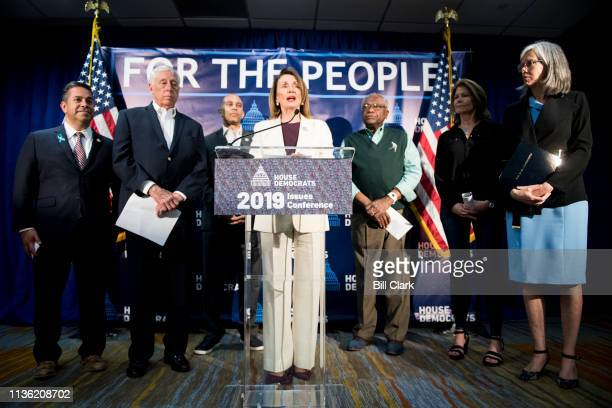 Speaker of the House Nancy Pelosi DCalif flannked from left by Assistant Democratic Leader Ben Ray Lujan DNM House Majority Leader Steny Hoyer DMd...