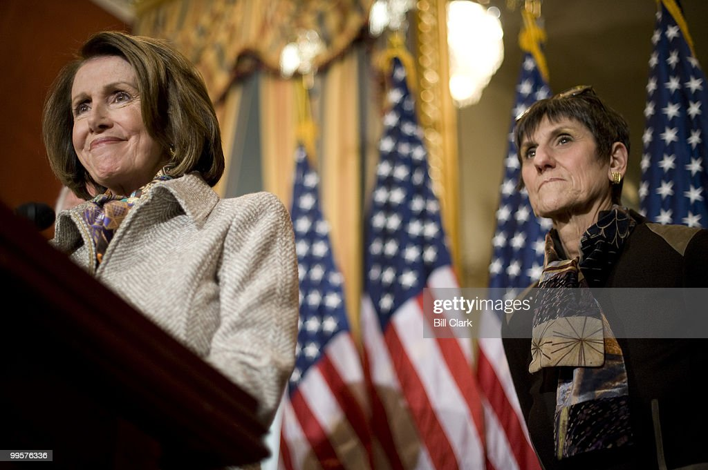 Speaker of the House Nancy Pelosi, D-Calif., left, and Rep. Rosa DeLauro, D-Conn, participate in the Speaker's news conference on Monday, Feb. 23, 2009, to discuss their recent Congressional trip to Italy and Afghanistan