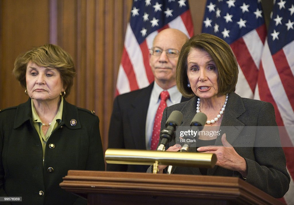 Speaker of the House Nancy Pelosi, D-Calif., speaks during her news conference to discuss the Health Insurance Industry Fair Competition Act on Tuesday, Feb. 23, 2010. To the left are House Rules Committee Chairwoman Louise Slaughter, D-N.Y., and Rep. Peter DeFazio, D-Ore.