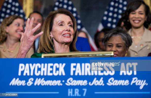 Speaker of the House Nancy Pelosi, D-Calif., speaks during the Democratic Womens Caucus press conference marking Equal Pay Day and celebrating...