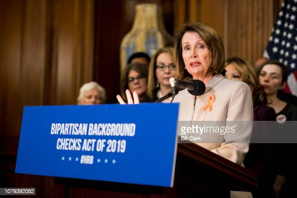 Speaker of the House Nancy Pelosi DCalif speaks during the event to introduce the Bipartisan Background Checks Act of 2019 in the Capitol on Tuesday...