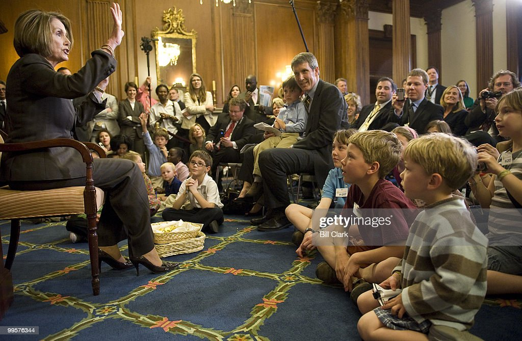 Speaker of the House Nancy Pelosi, D-Calif., takes questions from children of staff and press during her weekly news conference, held on 'Take Our Daughters and Sons to Work Day' on Thursday, April 23, 2009.