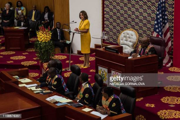 US Speaker of the House Nancy Pelosi delivers a speech at the Ghana's parliament in Accra on July 31 2019 during a threeday visit to the country to...