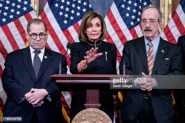 Speaker of the House Nancy Pelosi delivers remarks alongside Chairman Jerry Nadler House Committee on the Judiciary and Chairman Eliot Engel House...