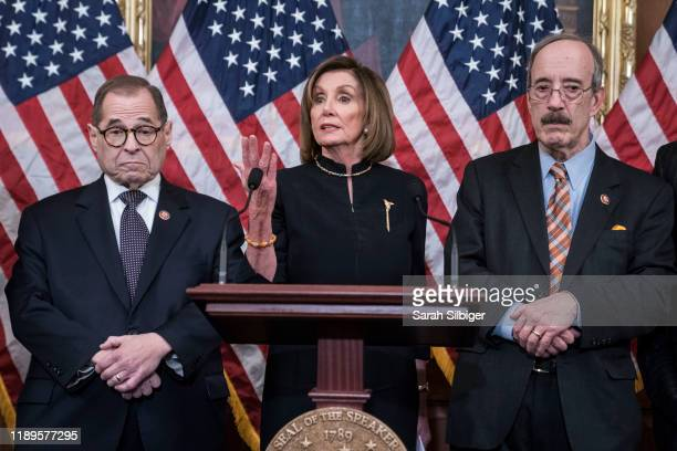 Speaker of the House Nancy Pelosi delivers remarks alongside Chairman Jerry Nadler, House Committee on the Judiciary and Chairman Eliot Engel, House...