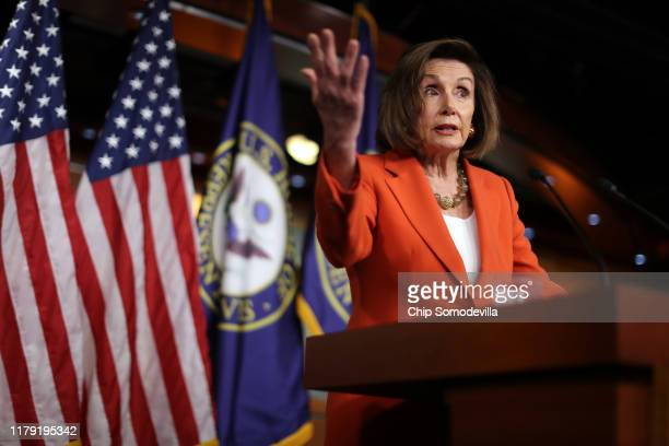 S Speaker of the House Nancy Pelosi delivers remarks at a press conference at the US Capitol on October 31 2019 in Washington DC Later today The US...