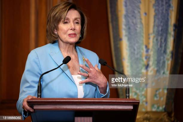 Speaker of the House Nancy Pelosi delivers remarks at an enrollment ceremony for the COVID-19 Hate Crimes Act at the U.S. Capitol May 19, 2021 in...