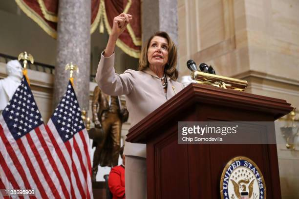 Speaker of the House Nancy Pelosi delivers remarks during an event honoring NASA's 'Hidden Figures,' African-American women mathematicians who helped...