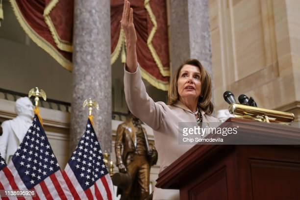 Speaker of the House Nancy Pelosi delivers remarks during an event honoring NASA's 'Hidden Figures' AfricanAmerican women mathematicians who helped...