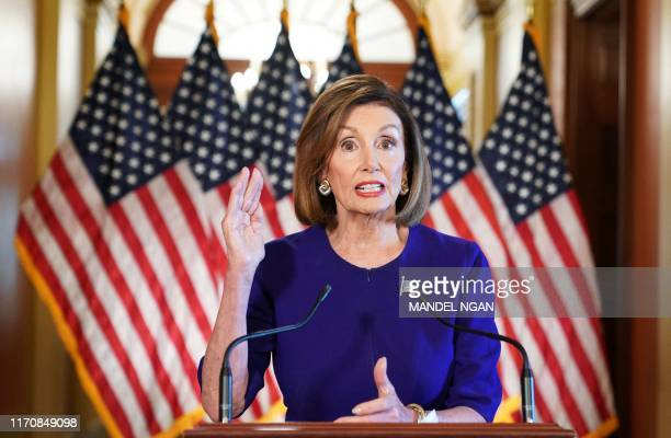 Speaker of the House Nancy Pelosi Democrat of California announces a formal impeachment inquiry of US President Donald Trump on September 24 in...