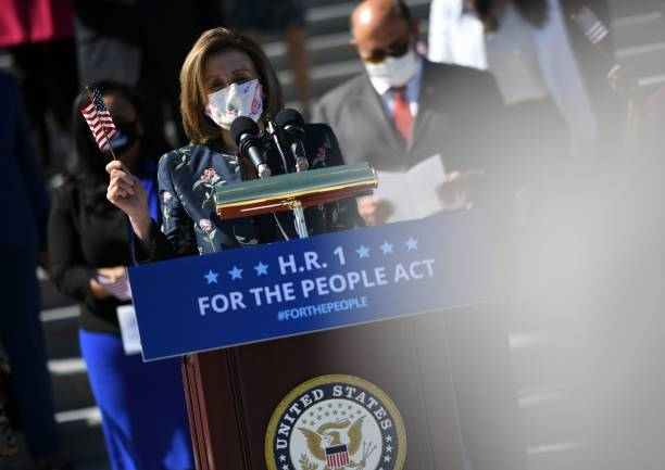 DC: Speaker Pelosi Delivers Remarks On For The People Act Outside Capitol Building