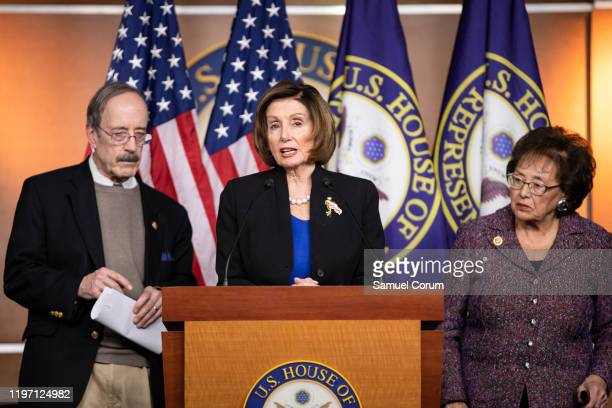 Speaker of the House Nancy Pelosi flanked by Representatives Eliot Engel and Nita Lowey speaks about the things she witnessed on a trip to Israel and...