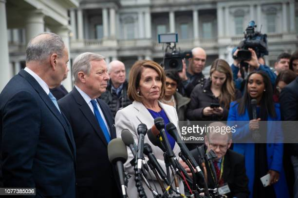 Speaker of the House Nancy Pelosi flanked by the other Democratic leaders in Congress addresses the media after meeting with Republicans and...