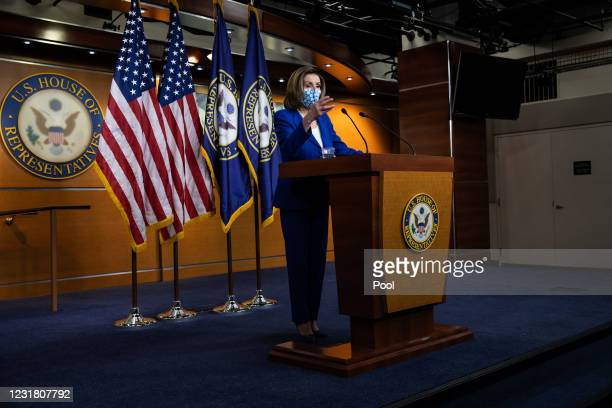 Speaker of the House Nancy Pelosi holds a news conference in the U.S. Capitol Visitors Center on March 19, 2021 in Washington, DC. The members of...