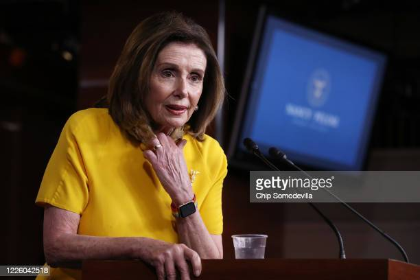 Speaker of the House Nancy Pelosi holds her weekly news conference at the US Capitol May 20 2020 in Washington DC In addition to defending her...