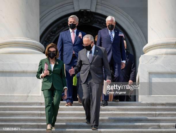 Speaker of the House Nancy Pelosi , House Minority Leader Kevin McCarthy , Senate Majority Leader Chuck Schumer and Rep. Steny Hoyer walk down the...