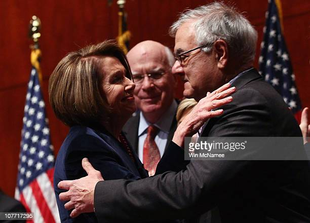 Speaker of the House Nancy Pelosi hugs Rep Barney Frank before signing the legislation repealing the 'don't ask don't tell' policy at the US Capitol...