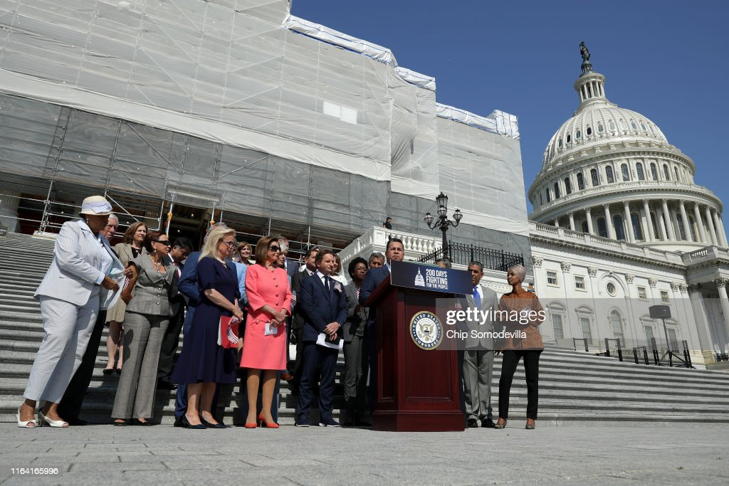 House Speaker Nancy Pelosi And House Democrats Hold Event Marking First 200 Days Of The 116th Congress : News Photo